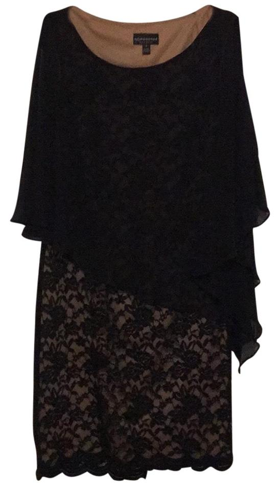 39b88ff0db9e Connected Apparel Black Lace Overlay Mid-length Formal Dress Size 8 ...