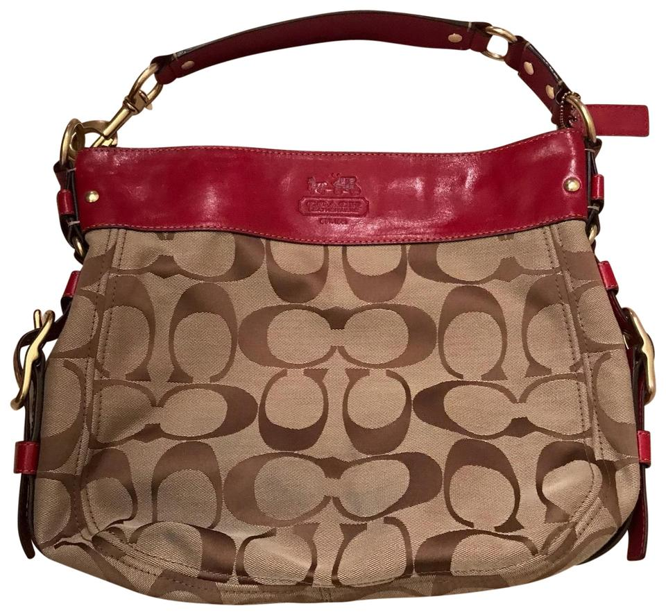 Coach Tan with Red Leather Accents Fabric Hobo Bag - Tradesy