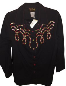 Bob Mackie Designer Buttons Top Black, Bright Accents