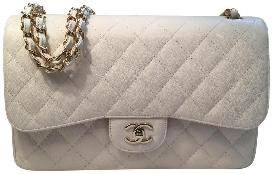 9e061369d77ab2 Chanel Classic Double Flap Jumbo Ivory White Caviar Leather Shoulder ...