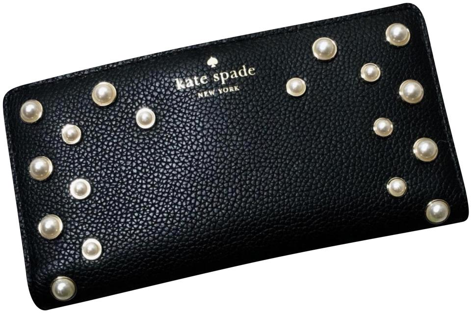 0d003f068c45 Kate Spade Black Stacy Serrano Place Pearl Leather Wallet 49% off retail