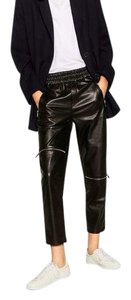Zara Faux Leather Jeans Sweatpants Loose Relaxed Pants Black