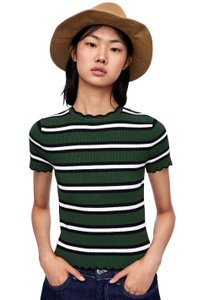 c9a11e6b04c43 Zara Striped Knit Sweater T Shirt Green black white