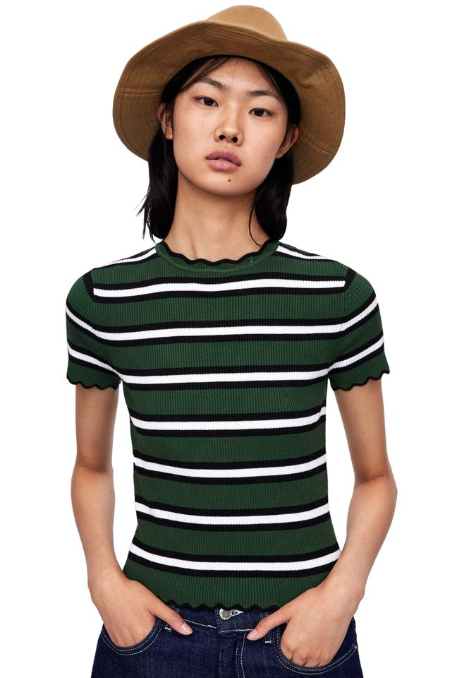 entire collection new images of save off Zara Green Black White New Striped Knit Ribbed Tee Shirt Size 8 (M)