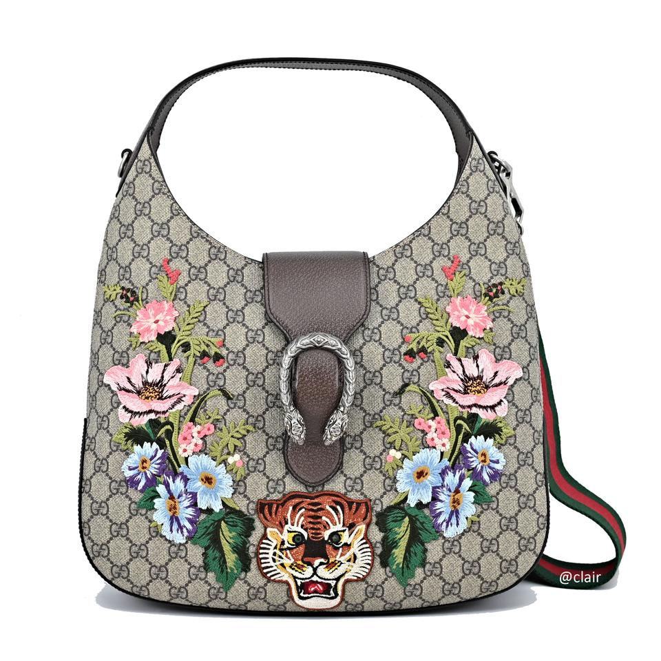 3e22e8095a37 Gucci Dionysus Embroidered Medium Gg Brown/Beige/Ebony Supreme Canvas Hobo  Bag