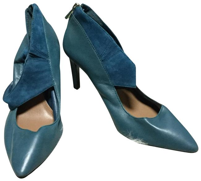 Item - Teal Leather and Suede Pumps Size US 6.5 Regular (M, B)