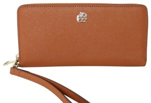 Tory Burch NEW TORY BURCH LEATHER ZIP AROUND LARGE LOGO WRISTLET WALLET BAG NWT