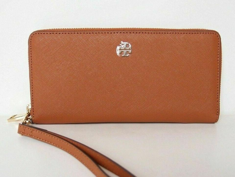 f32f5a142b3 Tory Burch Brown Tan Luggage New Leather Zip Around Large Logo Wristlet Bag  Wallet - Tradesy