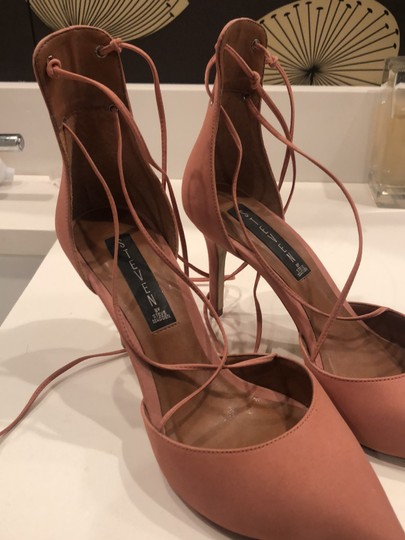 Steven by Steve Madden Strappy Sandals Blush pink Suede Pumps Image 10