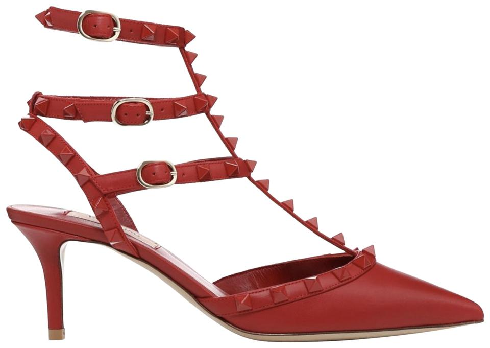 b623d5590f2c Valentino Studded Pointed Toe Leather Ankle Strap Stiletto red Pumps Image  0 ...