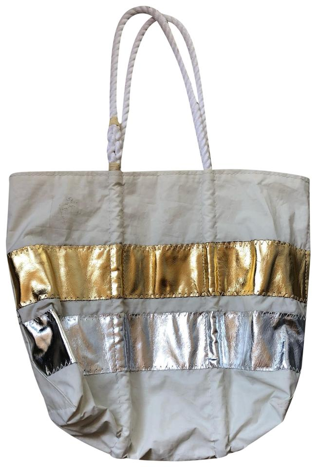 J Crew Sea Bags And White Silver Gold Sailcloth Tote 64 Off Retail