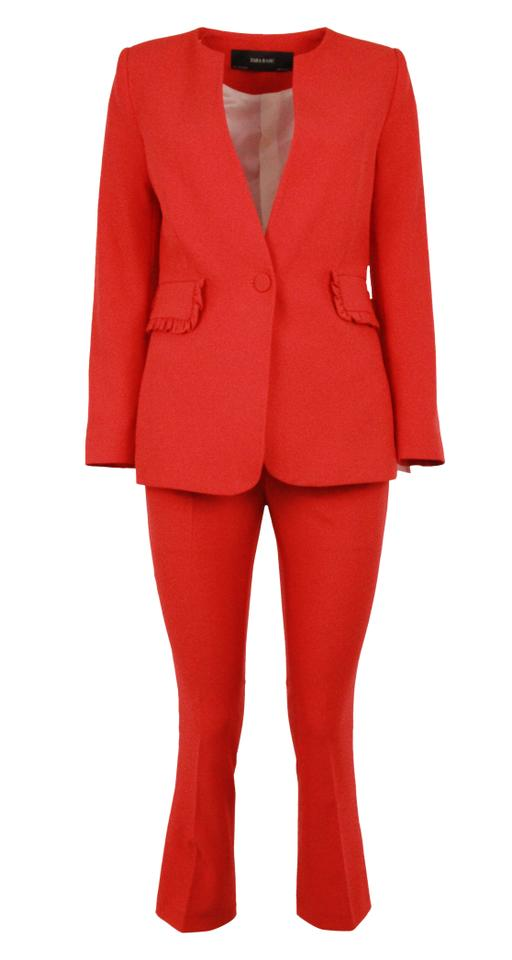 78d06796 Zara Red 2 Piece Pant Suit Size 4 (S) - Tradesy