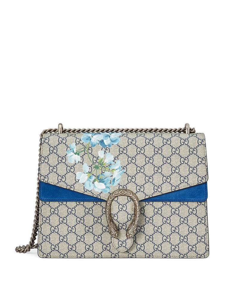 64bdf1c2dc5 Gucci Dionysus Medium Gg Blooms Blue Canvas Suede Shoulder Bag - Tradesy