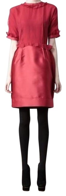 Item - Red Evening Gown Silk Mid-length Cocktail Dress Size 6 (S)