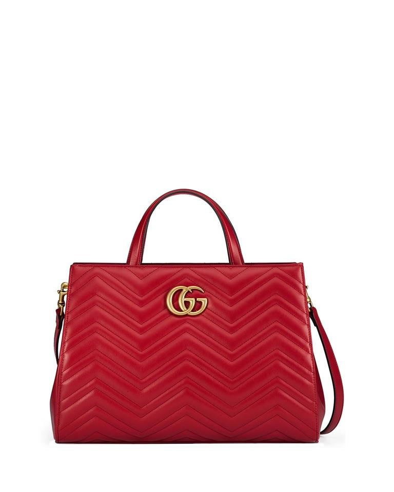 318bc94a1ac Gucci Marmont Medium Matelasse Top-handle Hibiscus Red Leather Tote ...