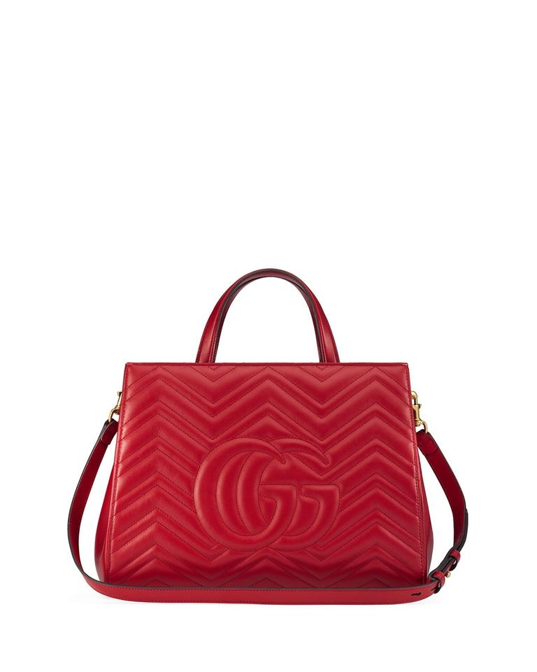 3622d0f1e003 Gucci Marmont Medium Matelasse Top-handle Hibiscus Red Leather Tote ...
