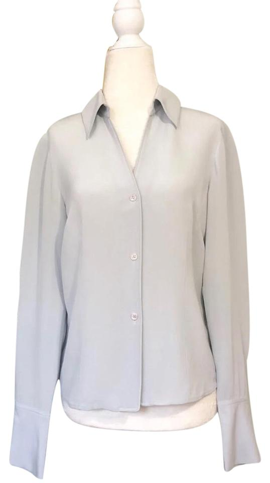 2db641bbdcdf7 Jones New York Mint Vintage Platinum Silk Shirt Button-down Top Size ...