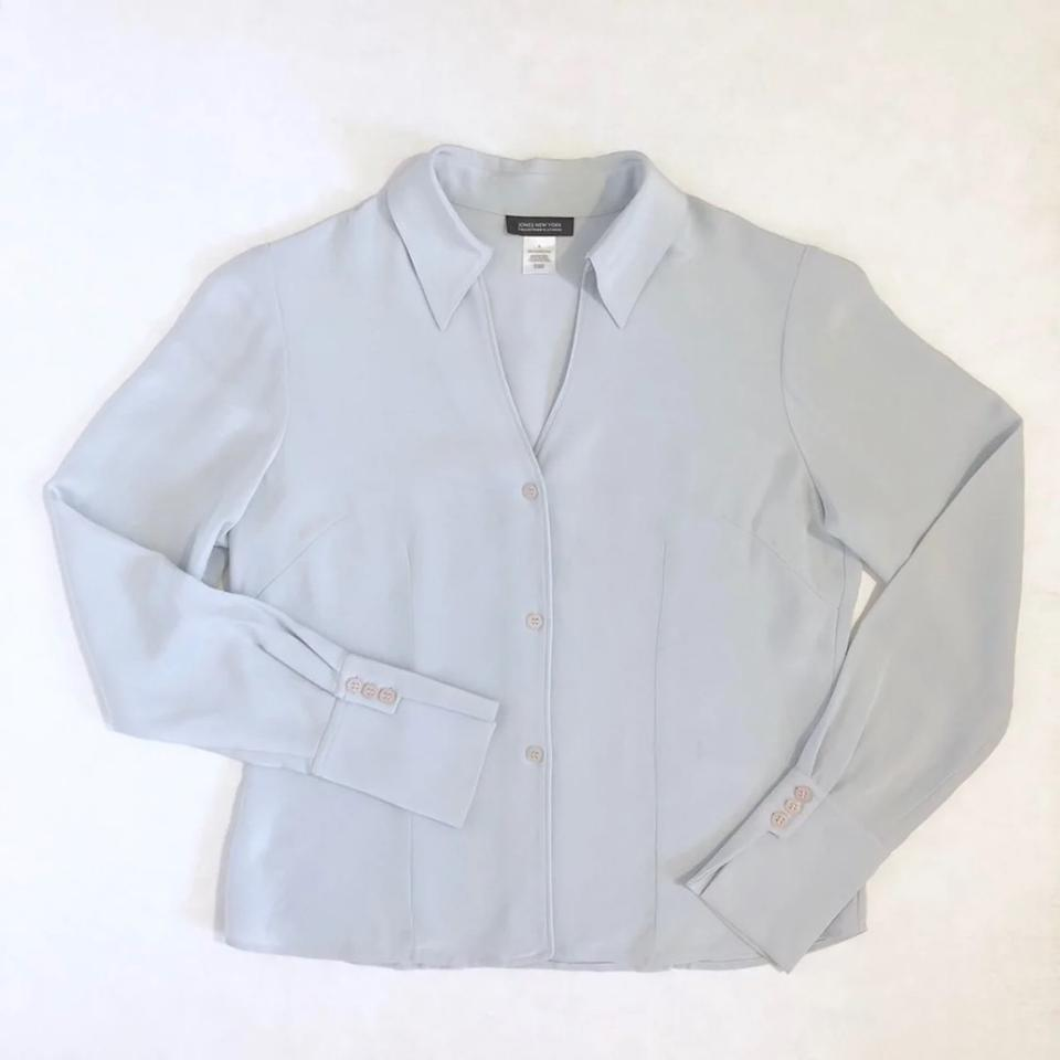 93ca7e4ef173a Jones New York Mint Vintage Platinum Silk Shirt Button-down Top Size 6 (S)  - Tradesy