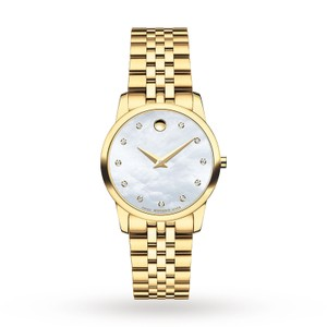 Movado Museum Classic 0606998 White Mother Of Pearl Diamond Dial Ladies Watch