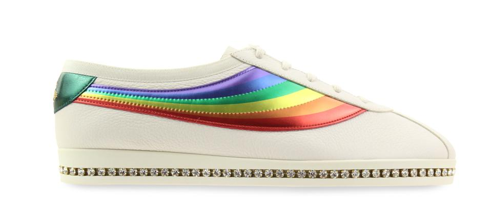 70ef587876c Gucci White Falacer Rainbow Ace Jeweled Crystal Sneakers Size EU 41 ...