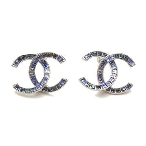 Chanel Large CC Earrings Moscova Iridescent Blue Silver Multi Shades
