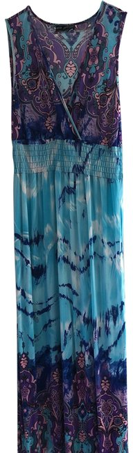 Mlle Gabrielle Blue Pink Purple Long Casual Maxi Dress Size 8 (M) Mlle Gabrielle Blue Pink Purple Long Casual Maxi Dress Size 8 (M) Image 1