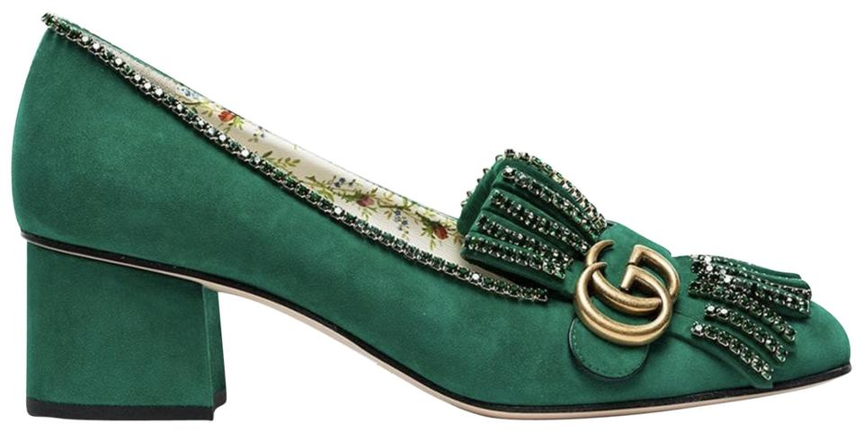 b4eb1019196 Gucci Green Marmont Suede Crystal Logo Fringe Block Mid Heel Mule Loafer  Pumps
