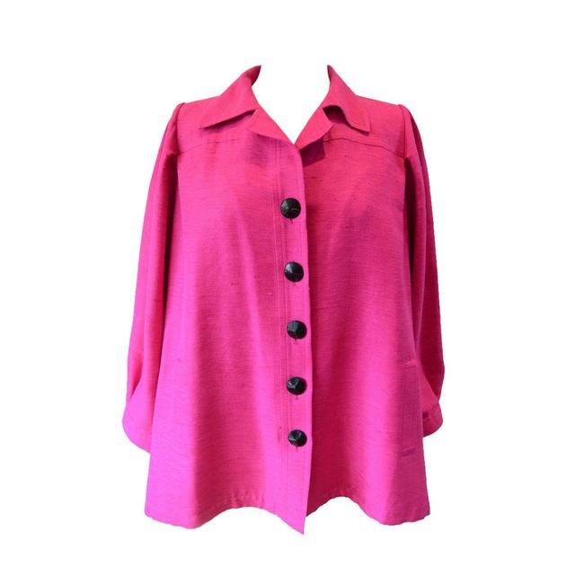 Item - Pink Yves Vintage Silk and Linen Faille Jacket Button-down Top Size 8 (M)