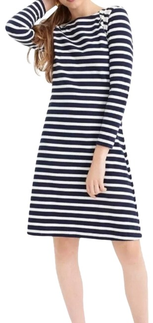 Item - Black White Cotton Navy Fit & Flare Striped Small Mid-length Work/Office Dress Size 6 (S)