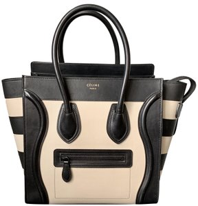 82bea334fb60 Céline Luggage Micro with Striped Wings Black Calfskin Leather Tote ...