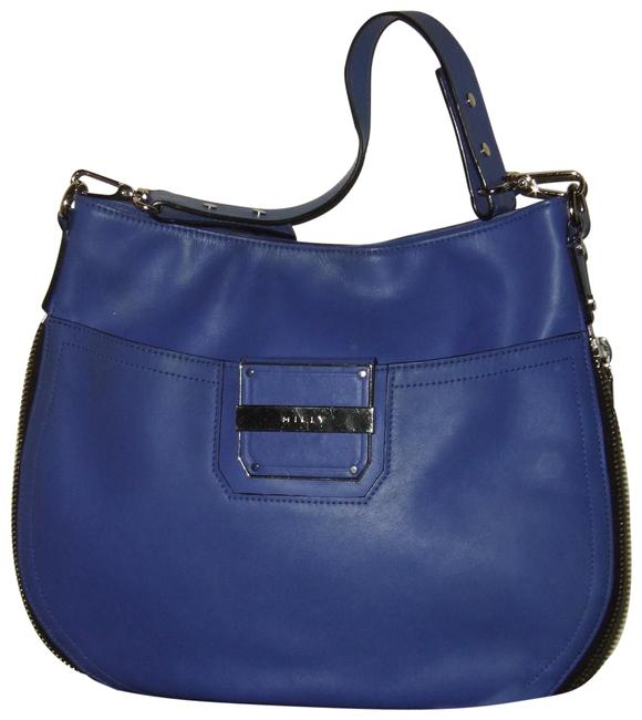 MILLY French Blue Leather Shoulder Bag MILLY French Blue Leather Shoulder Bag Image 1
