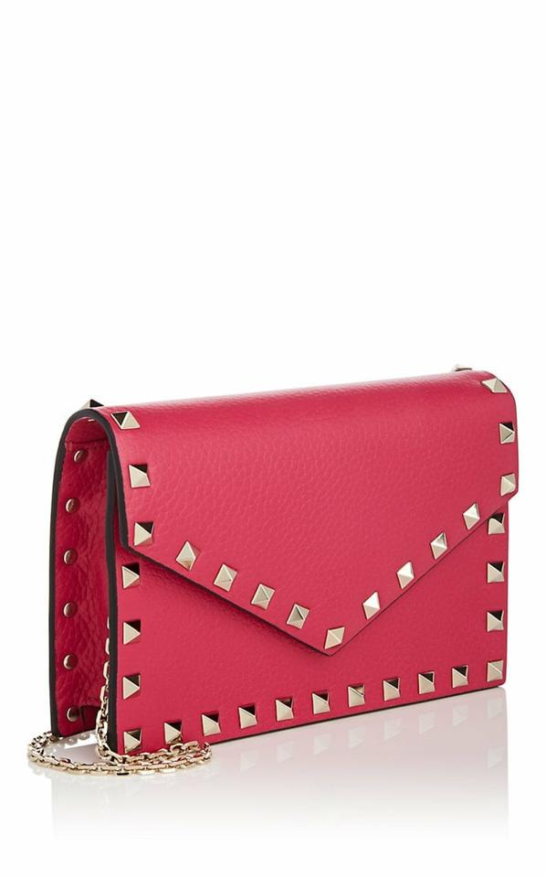 b185a70b028f9 Valentino Rockstud Chain Wallet   Clutch Disco Pink Grained Leather ...