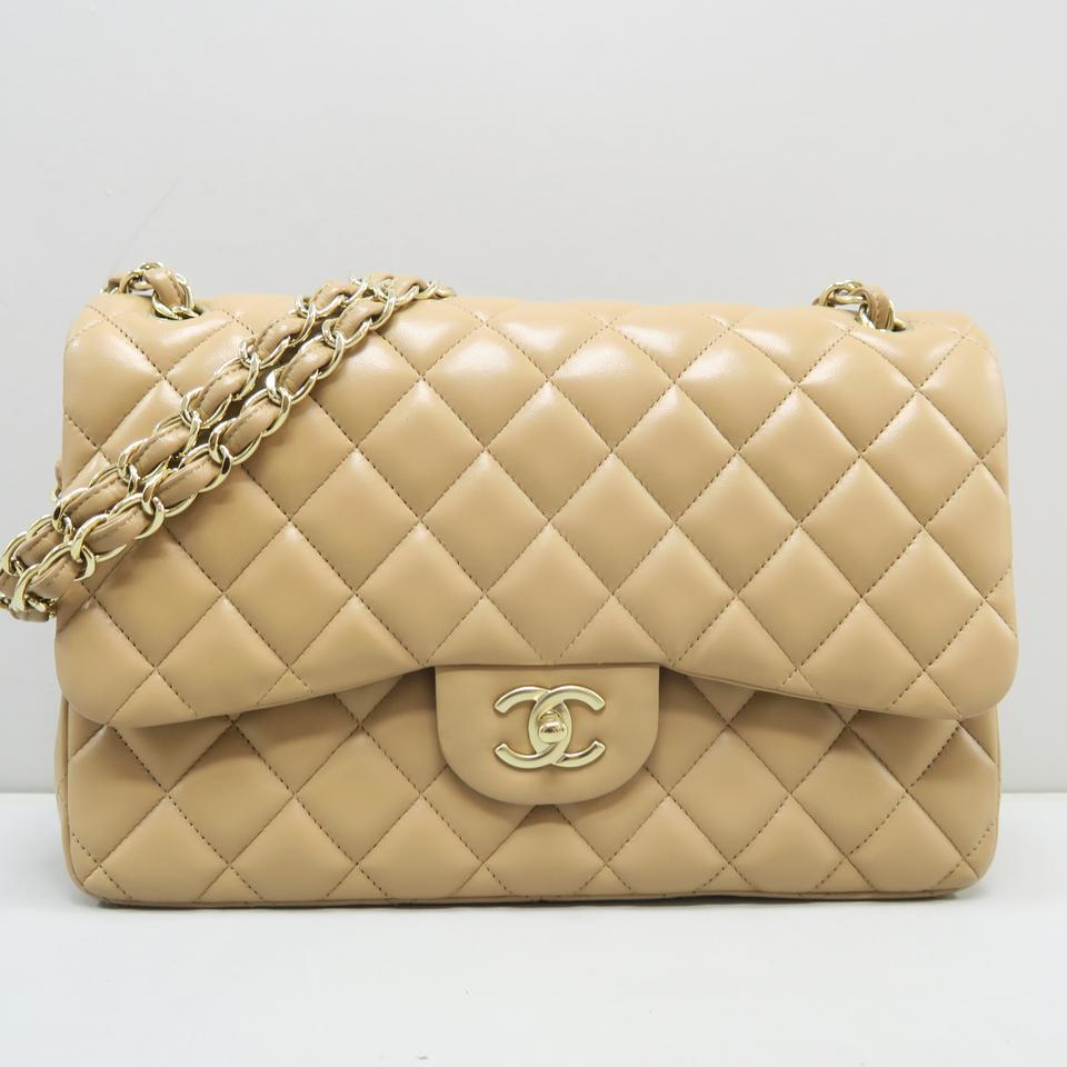 b3315556f0d6bb Chanel Classic Flap Classic Jumbo Double Light Brown Lambskin Leather  Shoulder Bag - Tradesy