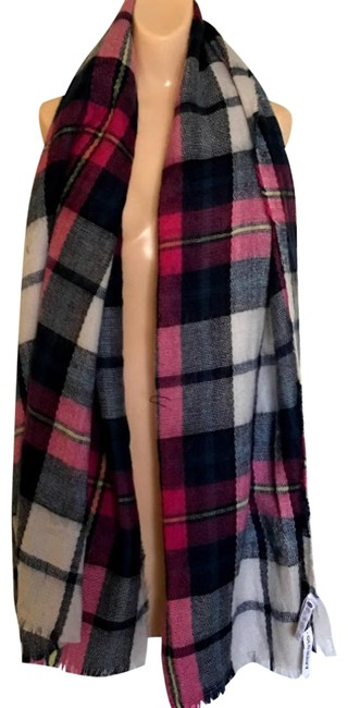 Item - Pink/Black/White/Gray Acrylic Plaid Blanket Wrap/Shawl Scarf/Wrap