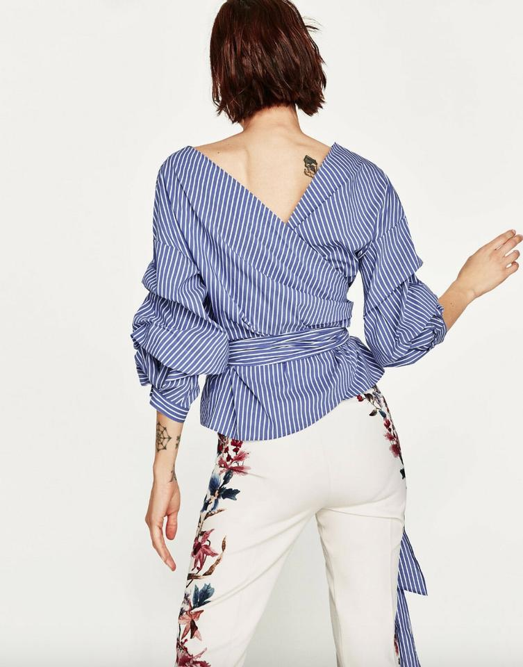 e07511b1f11bfa Zara Blue Stripe Pleated Runched Belted Crossover Blouse Size 8 (M ...