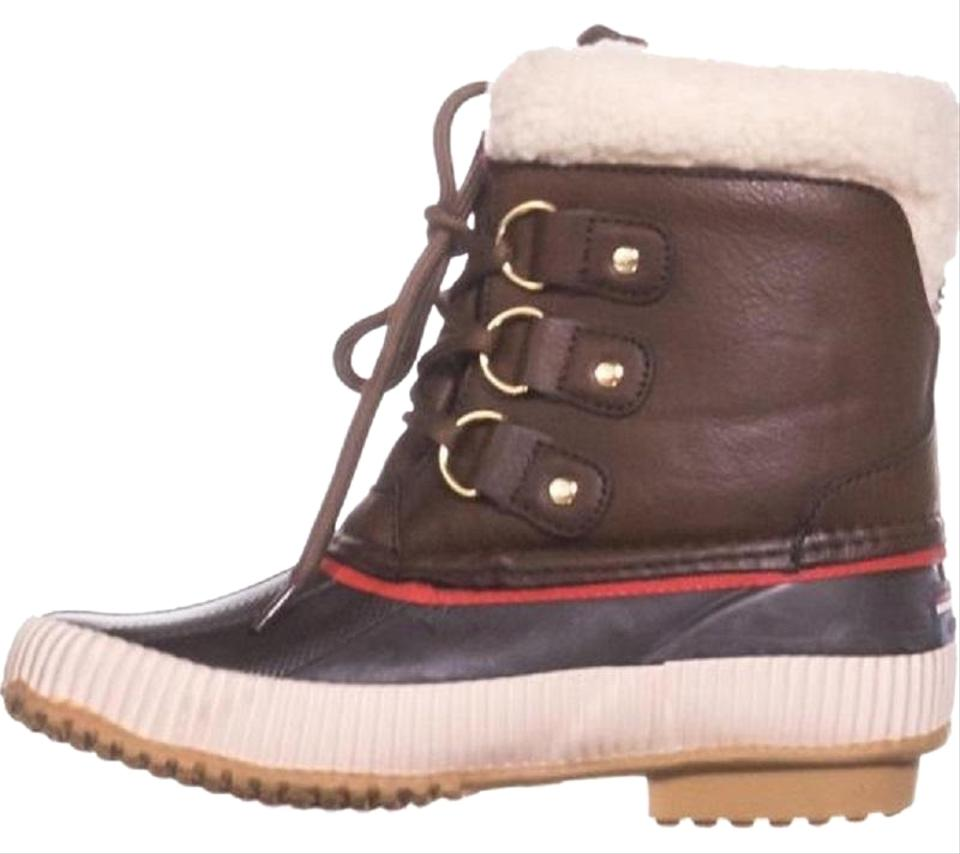 00ef0e7b64 Tommy Hilfiger Brown Ebonie Water Resistant Fleece Lined Winter Boots/ Booties