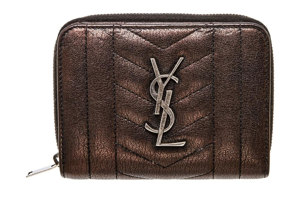 c63898a92005 Saint Laurent Monogram Ysl Iridescent Black Zip Wallet 489042 ...