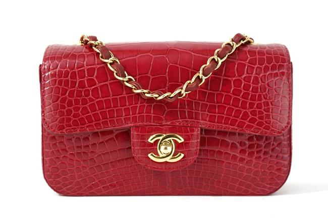 Chanel Classic Mini Flap Red Alligator Skin Leather Cross Body Bag Chanel Classic Mini Flap Red Alligator Skin Leather Cross Body Bag Image 1