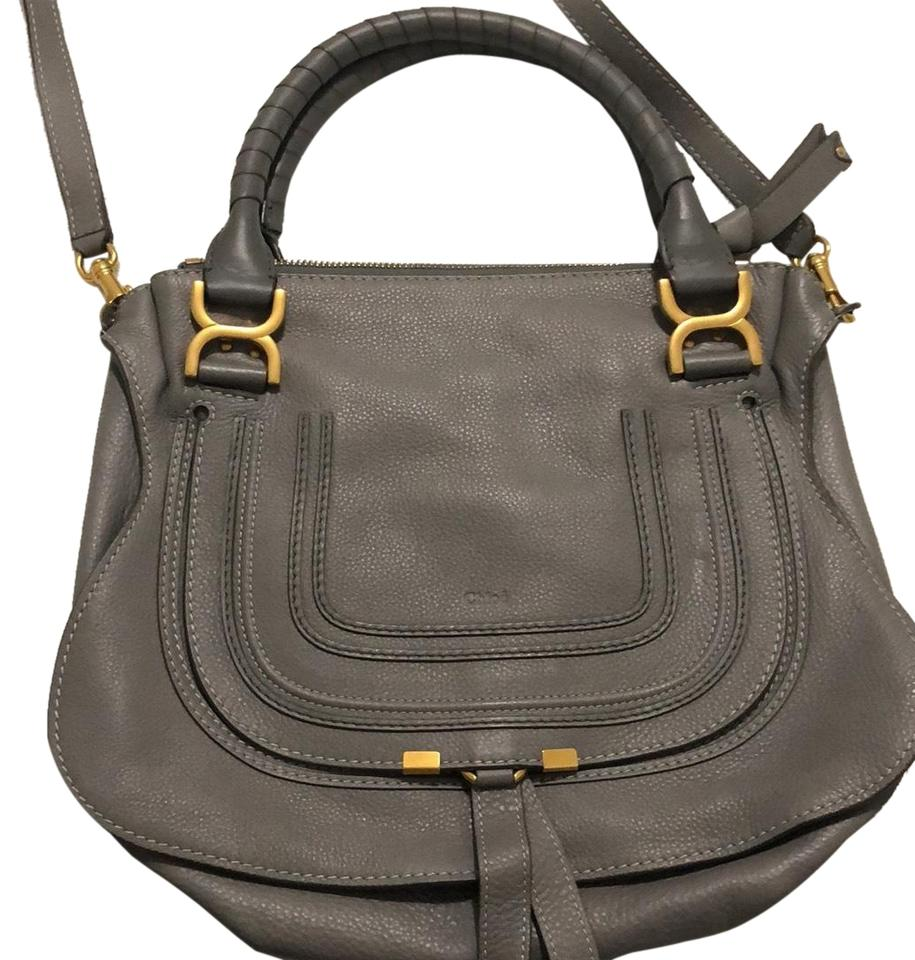 7f87598ac0de Chloé Marcie Handbag In Small Grain Grey Cashmere Calfskin Leather ...