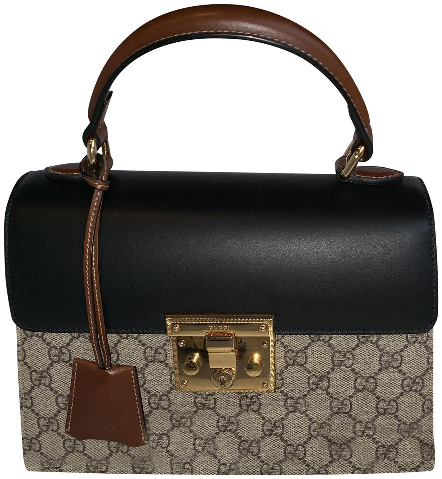 9df41271b Gucci Padlock Small Gg Top Handle Black/Brown/Beige Leather Shoulder ...