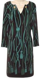 Nine West short dress green/black Hardware Multicolor Pattern Pencil on Tradesy