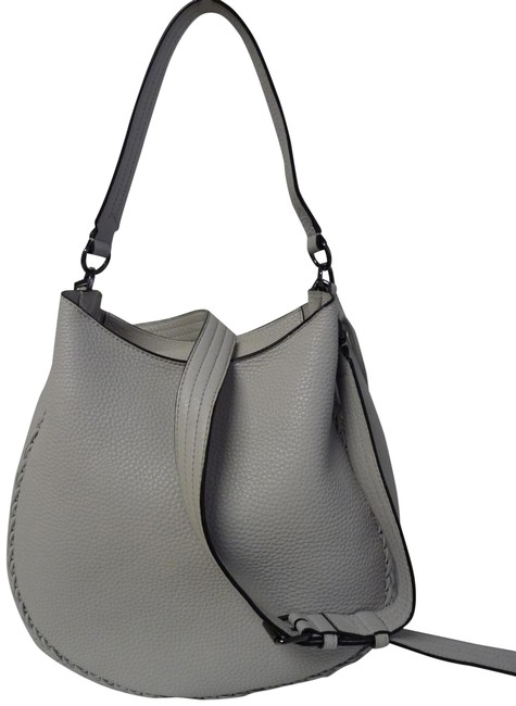 Item - Shoulder Unlined Convertible Whip-stitch Grey Leather Hobo Bag