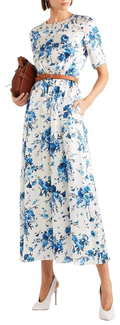 Item - White and Blue Floral Print Silk Maxi Long Cocktail Dress Size 2 (XS)