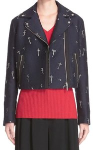GREY Jason Wu Metallic Faces Embroidered Faces Snap Down Lapes Snap Cuffs Asymmmetrical Zip Motorcycle Jacket