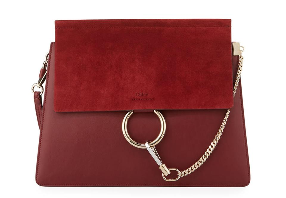 e1b4b766d3cb5 Chloé Faye Medium Chain Plum Suede Red Leather Shoulder Bag - Tradesy