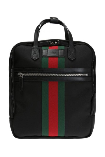 Gucci Green and Red Web Stripe Satchel 495558 Black Canvas
