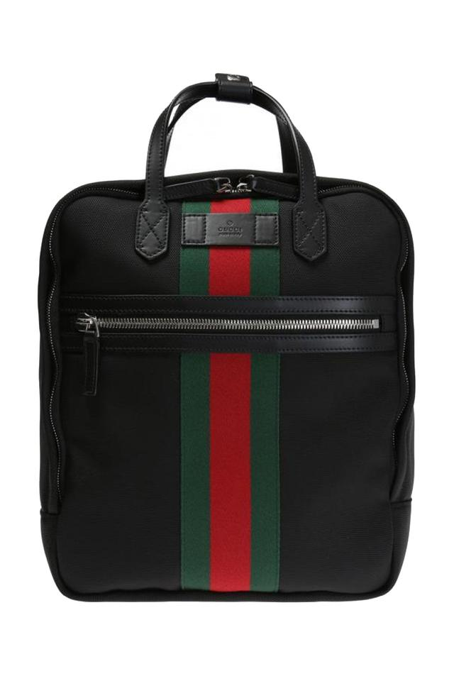 0a02573be7f Gucci Green and Red Web Stripe Satchel 495558 Black Canvas Backpack ...