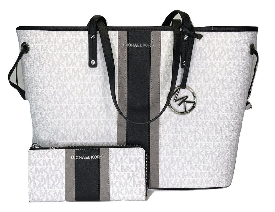 5e1eafca1512 Michael Kors Jet Set Travel Large Drawstring Tote Bundled with Wallet  Signature Mk Bright White/Black Center Stripe Saffiano Leather Shoulder Bag  - Tradesy