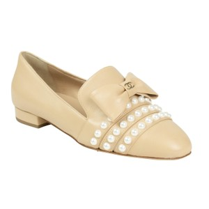 Chanel Leather Pearls Bow Beige Flats