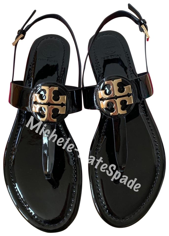 923ccd6c234 Tory Burch Black Bryce Flat Thong In Patent Leather Sandals Size US ...